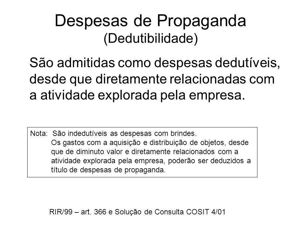 Despesas de Propaganda (Dedutibilidade)