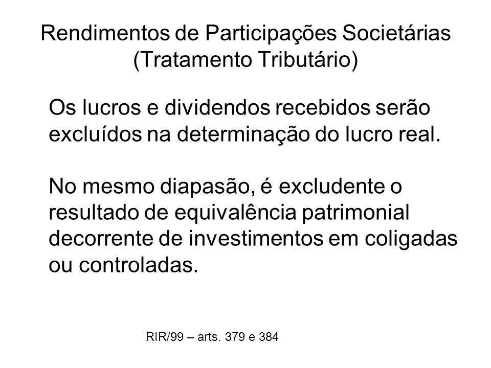 Rendimentos de Participações Societárias (Tratamento Tributário)