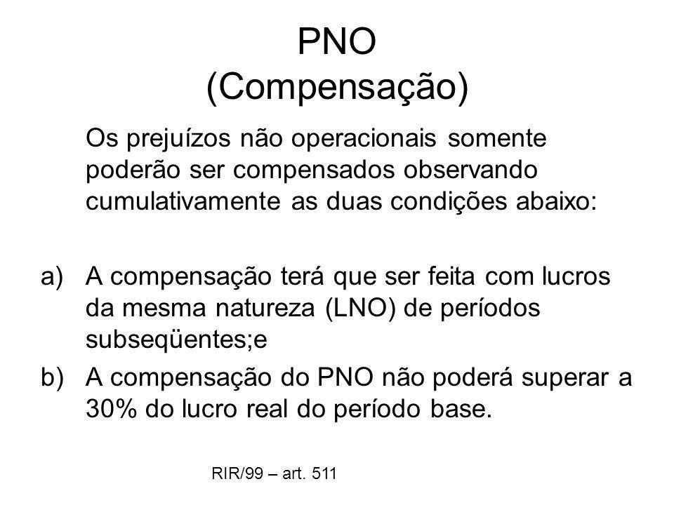 PNO (Compensação) Os prejuízos não operacionais somente poderão ser compensados observando cumulativamente as duas condições abaixo: