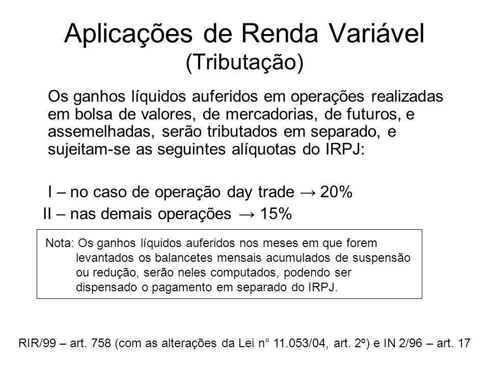 Aplicações de Renda Variável (Tributação)