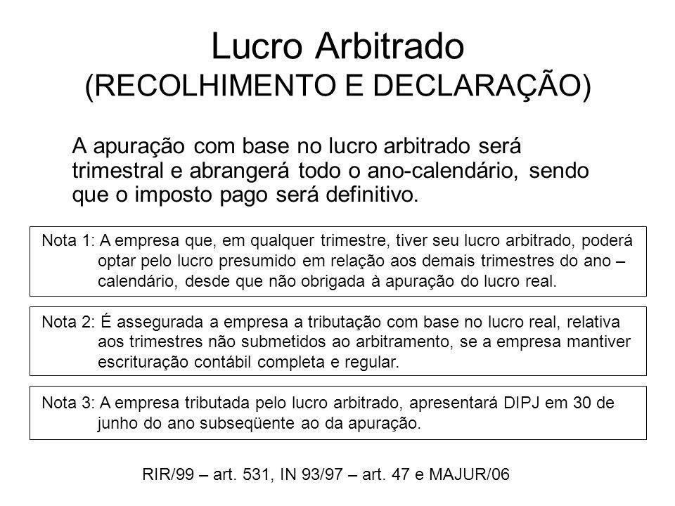 Lucro Arbitrado (RECOLHIMENTO E DECLARAÇÃO)