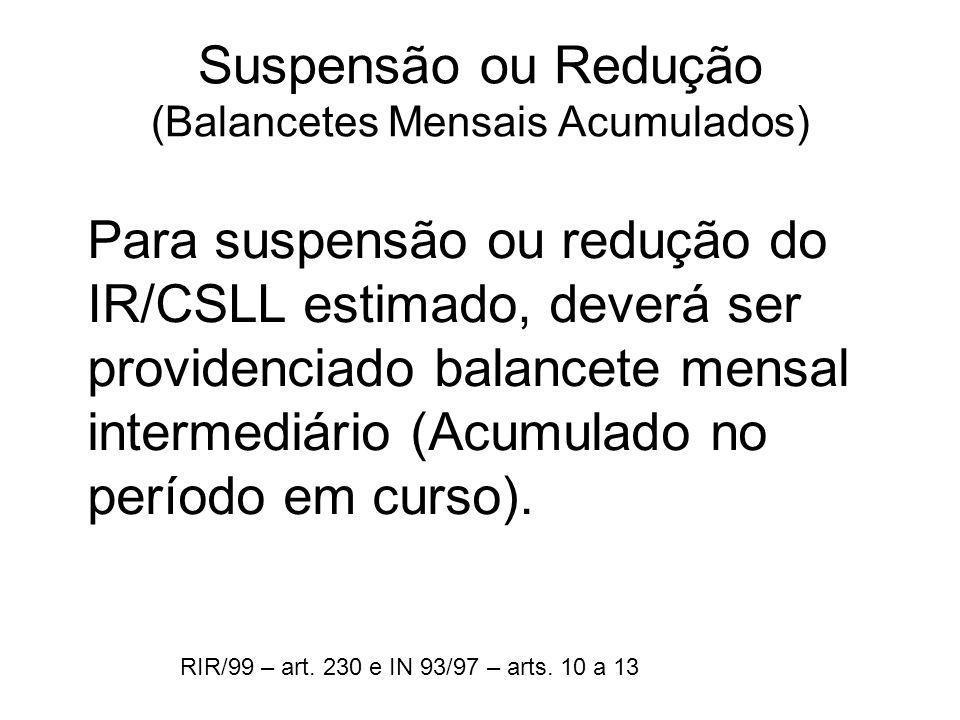 Suspensão ou Redução (Balancetes Mensais Acumulados)