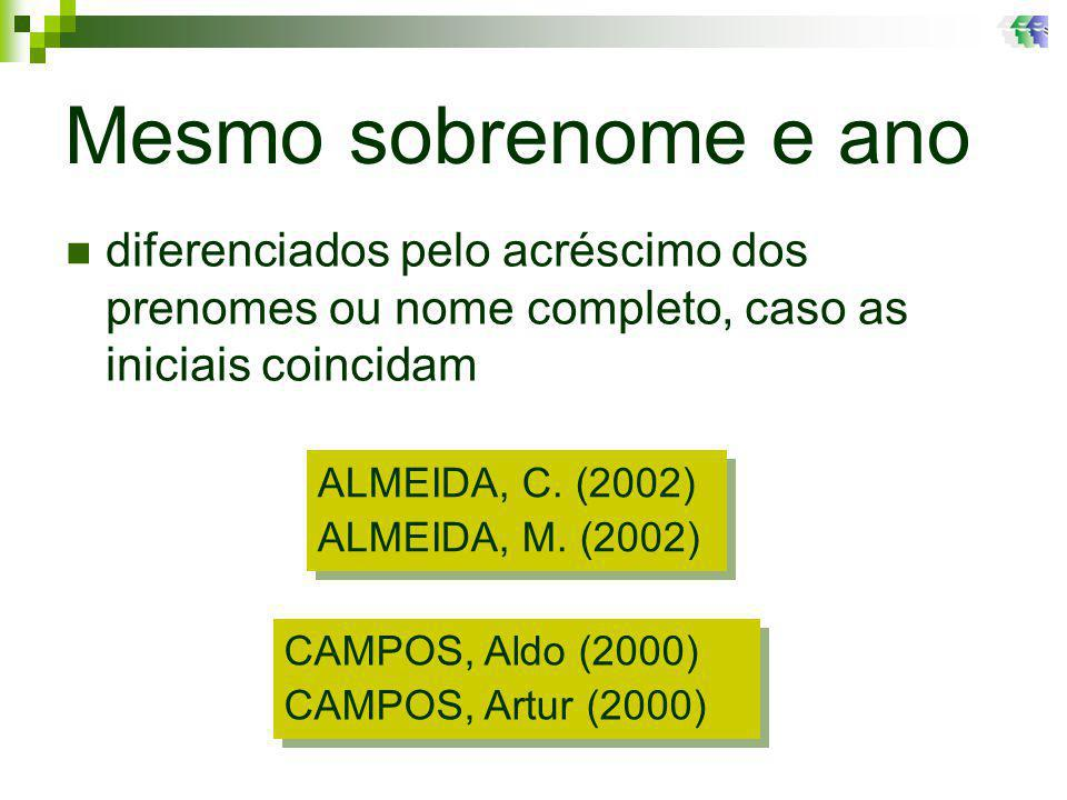 Mesmo sobrenome e ano diferenciados pelo acréscimo dos prenomes ou nome completo, caso as iniciais coincidam.