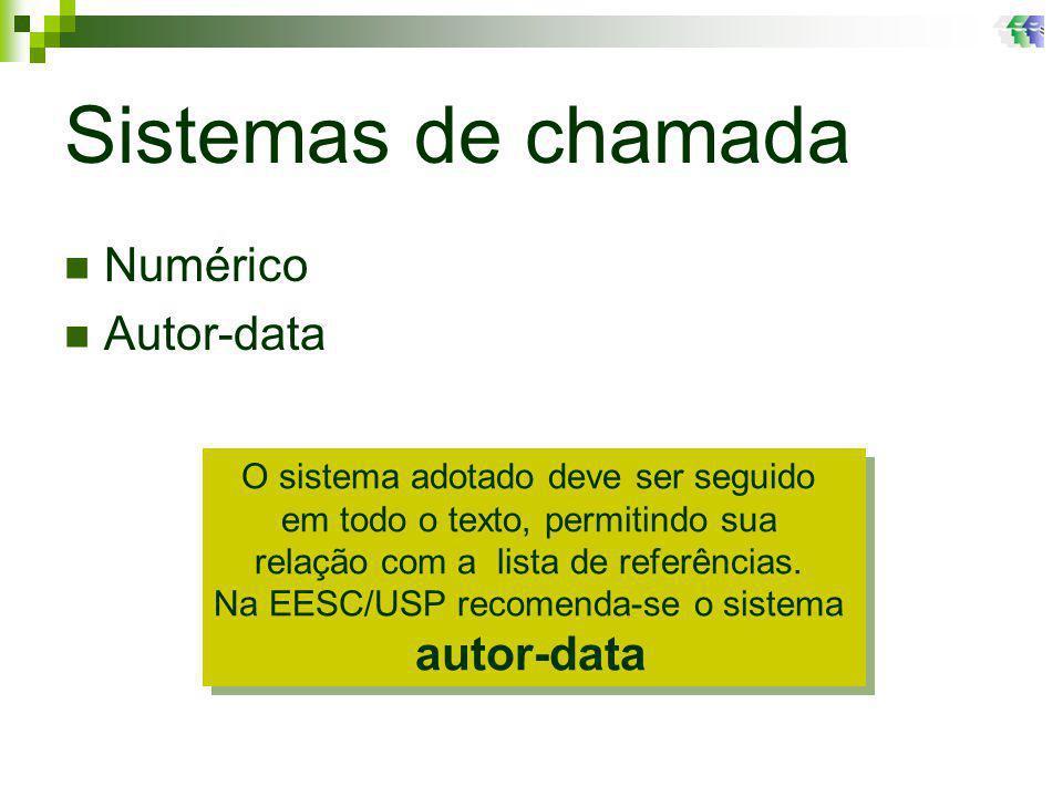 Sistemas de chamada Numérico Autor-data
