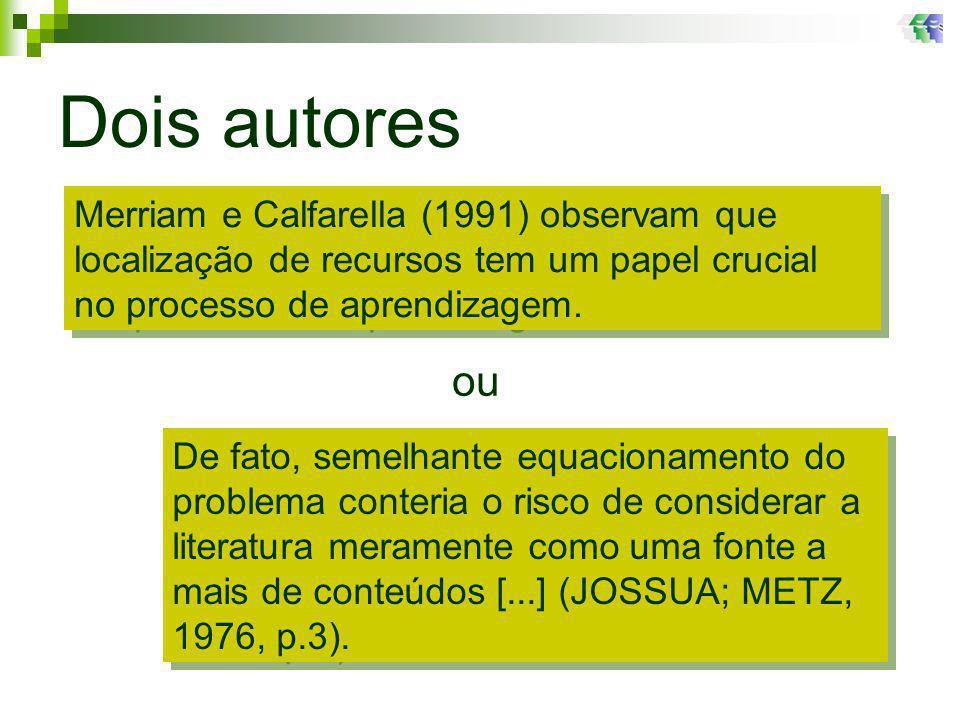 Dois autores Merriam e Calfarella (1991) observam que localização de recursos tem um papel crucial no processo de aprendizagem.