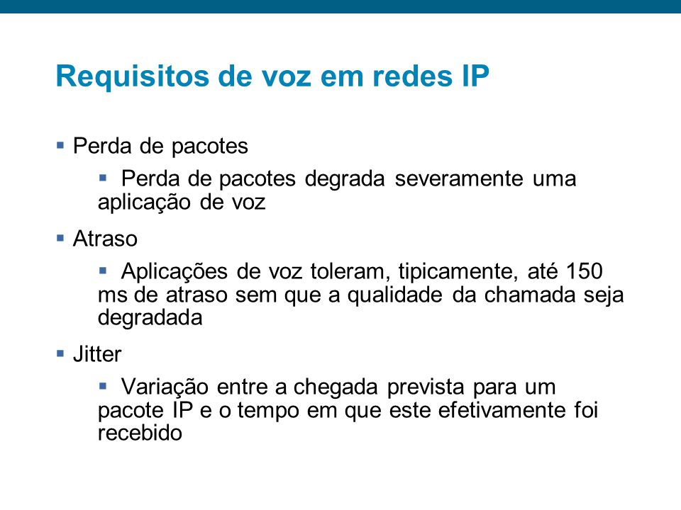 Requisitos de voz em redes IP