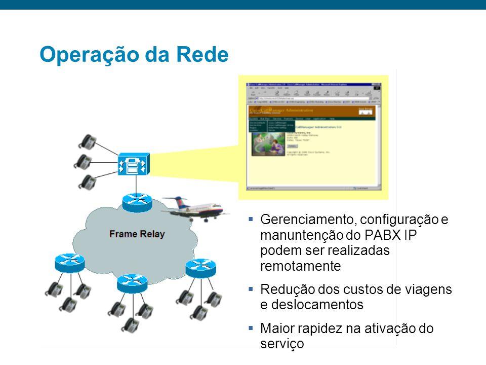 Operação da Rede Gerenciamento, configuração e manuntenção do PABX IP podem ser realizadas remotamente.