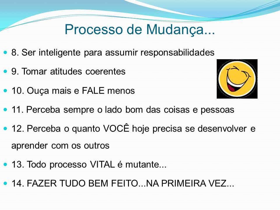 Processo de Mudança... 8. Ser inteligente para assumir responsabilidades. 9. Tomar atitudes coerentes.