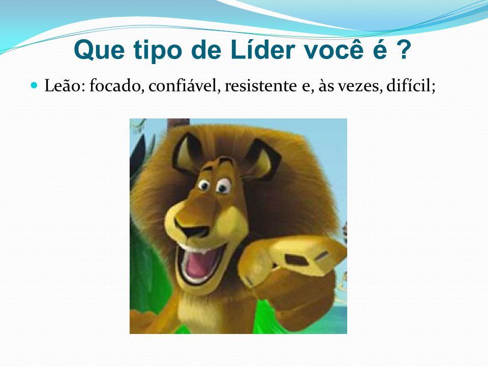 Que tipo de Líder você é Leão: focado, confiável, resistente e, às vezes, difícil;