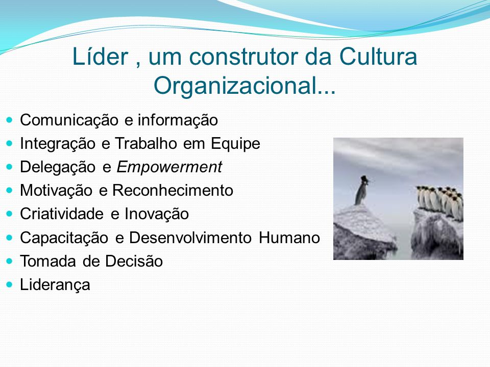 Líder , um construtor da Cultura Organizacional...