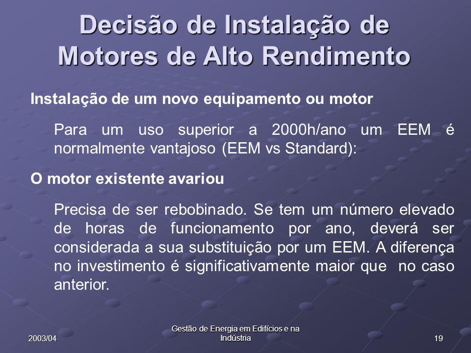Decisão de Instalação de Motores de Alto Rendimento