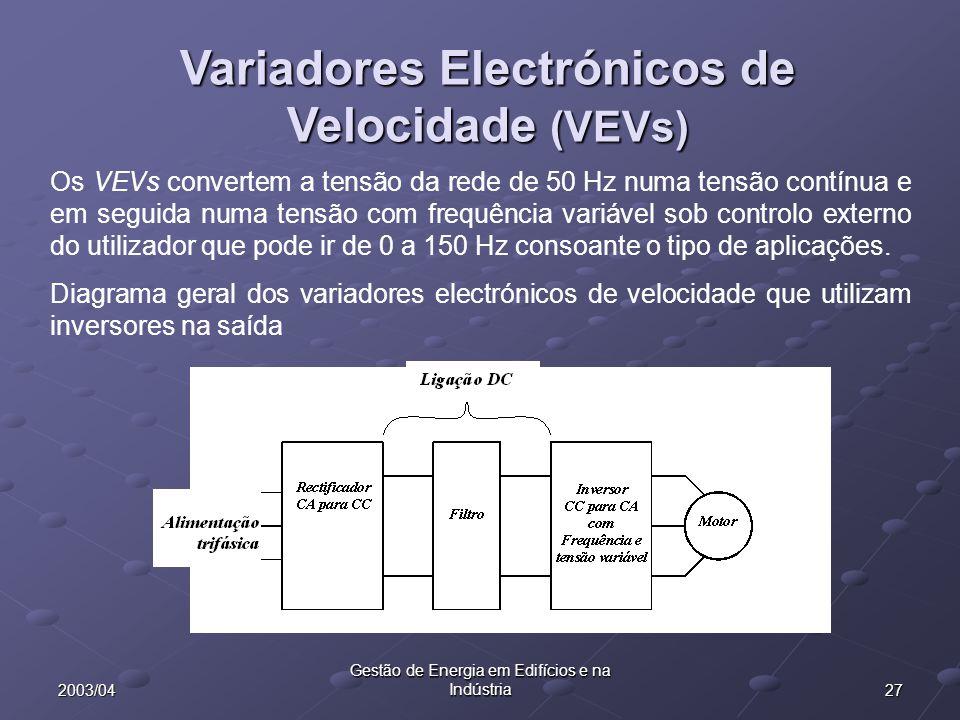 Variadores Electrónicos de Velocidade (VEVs)