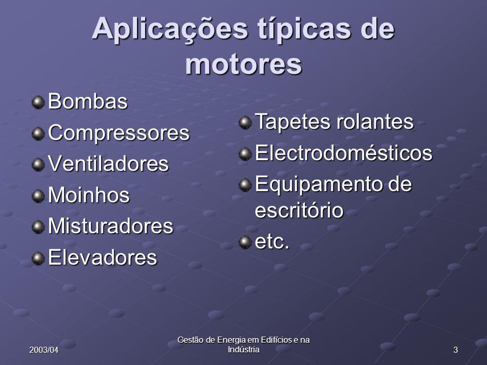 Aplicações típicas de motores