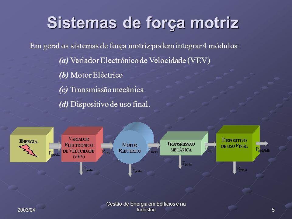Sistemas de força motriz