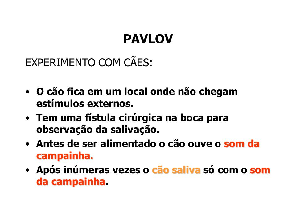 PAVLOV EXPERIMENTO COM CÃES:
