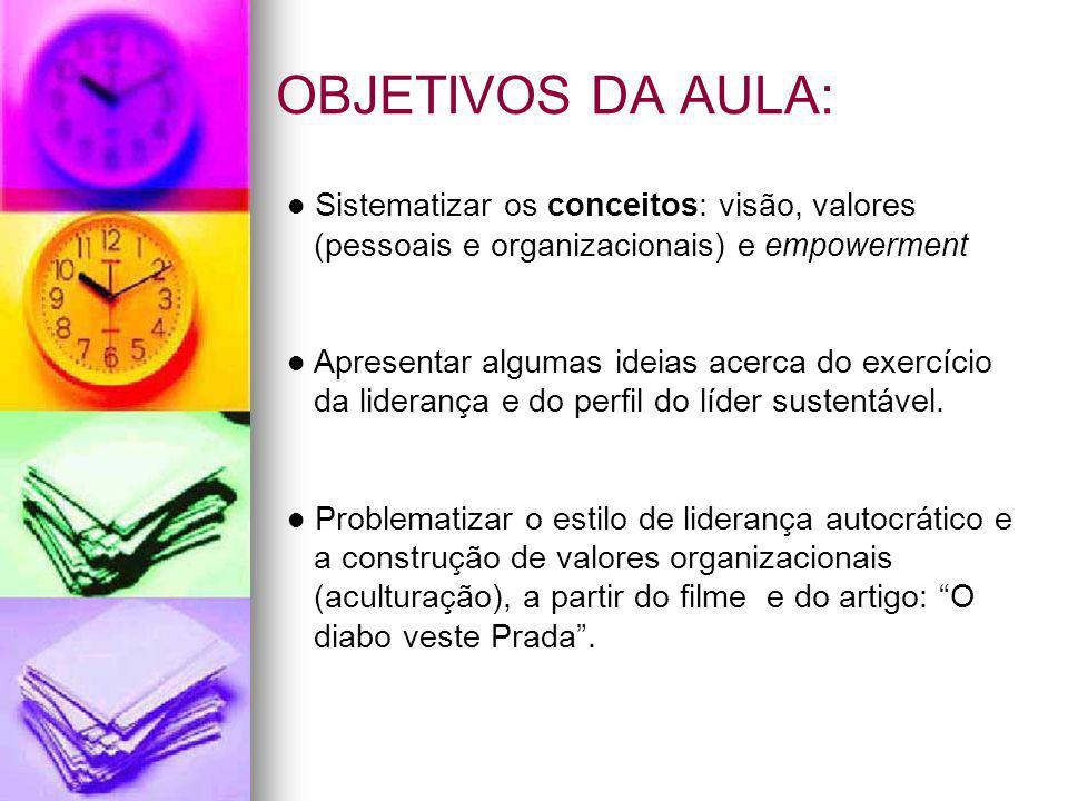 OBJETIVOS DA AULA: Sistematizar os conceitos: visão, valores