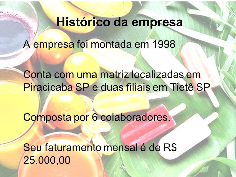 Histórico da empresa A empresa foi montada em 1998