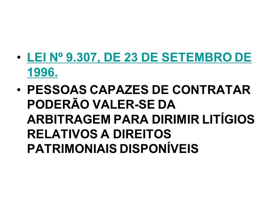 LEI Nº 9.307, DE 23 DE SETEMBRO DE 1996.