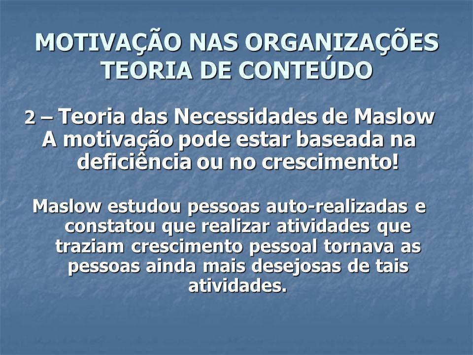 MOTIVAÇÃO NAS ORGANIZAÇÕES TEORIA DE CONTEÚDO