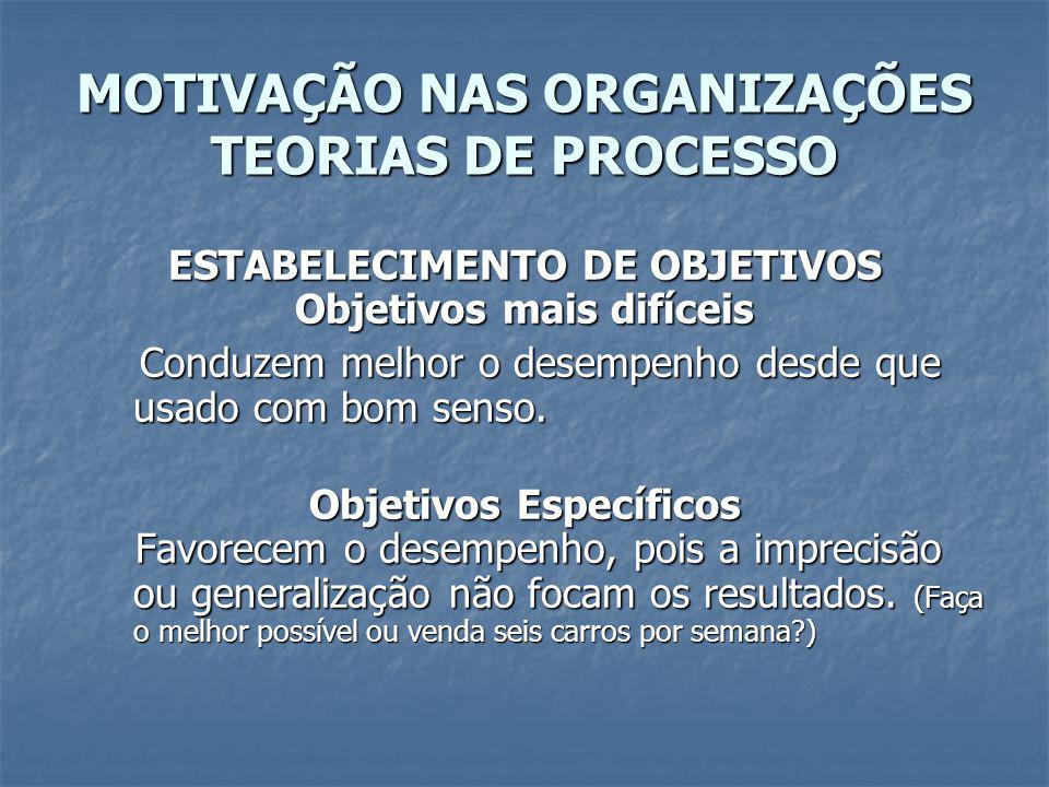 MOTIVAÇÃO NAS ORGANIZAÇÕES TEORIAS DE PROCESSO