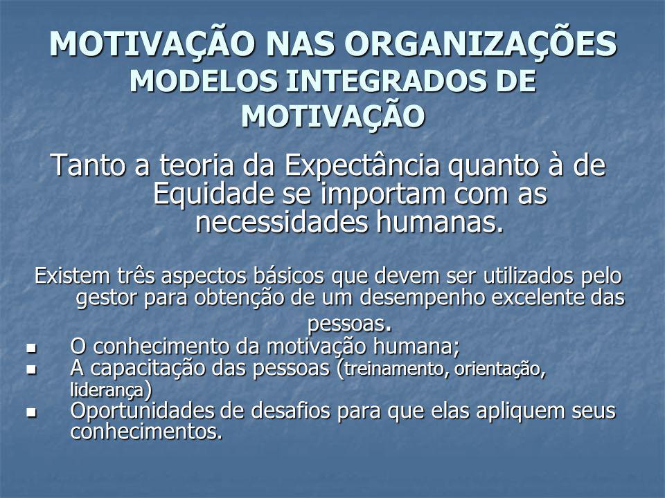 MOTIVAÇÃO NAS ORGANIZAÇÕES MODELOS INTEGRADOS DE MOTIVAÇÃO