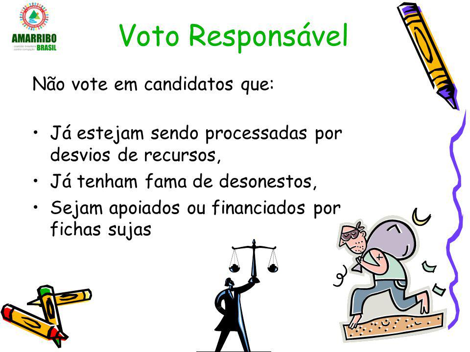 Voto Responsável Não vote em candidatos que: