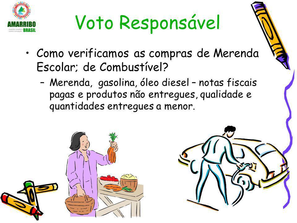 Voto Responsável Como verificamos as compras de Merenda Escolar; de Combustível