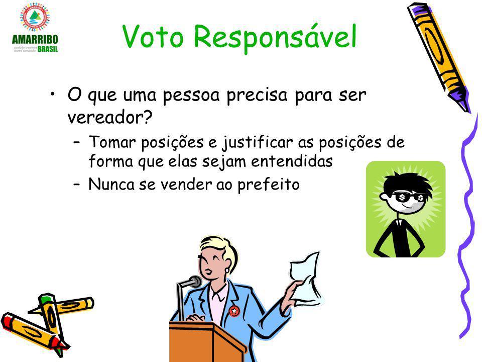 Voto Responsável O que uma pessoa precisa para ser vereador