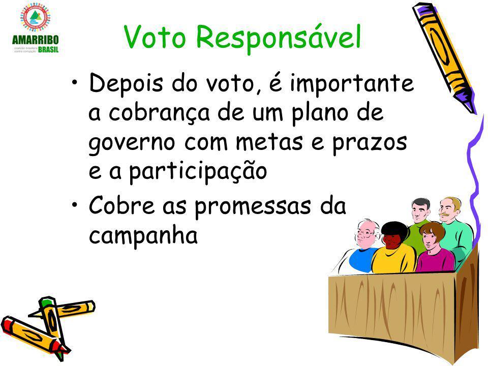Voto Responsável Depois do voto, é importante a cobrança de um plano de governo com metas e prazos e a participação.