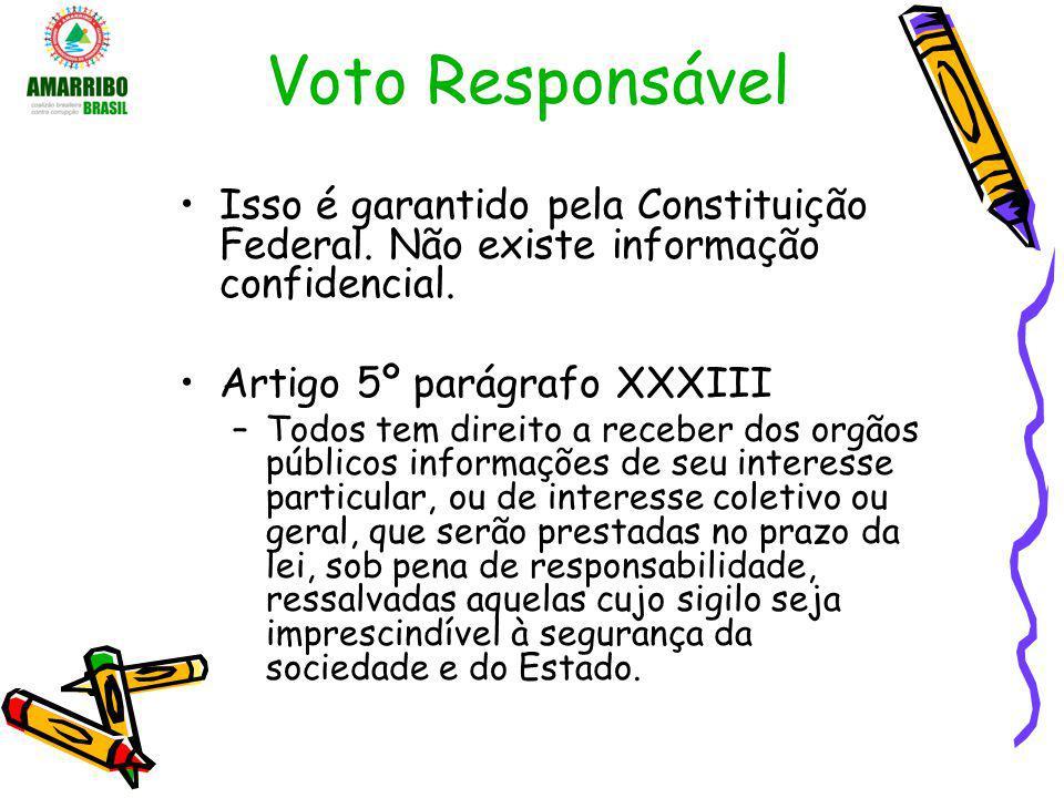 Voto Responsável Isso é garantido pela Constituição Federal. Não existe informação confidencial. Artigo 5º parágrafo XXXIII.