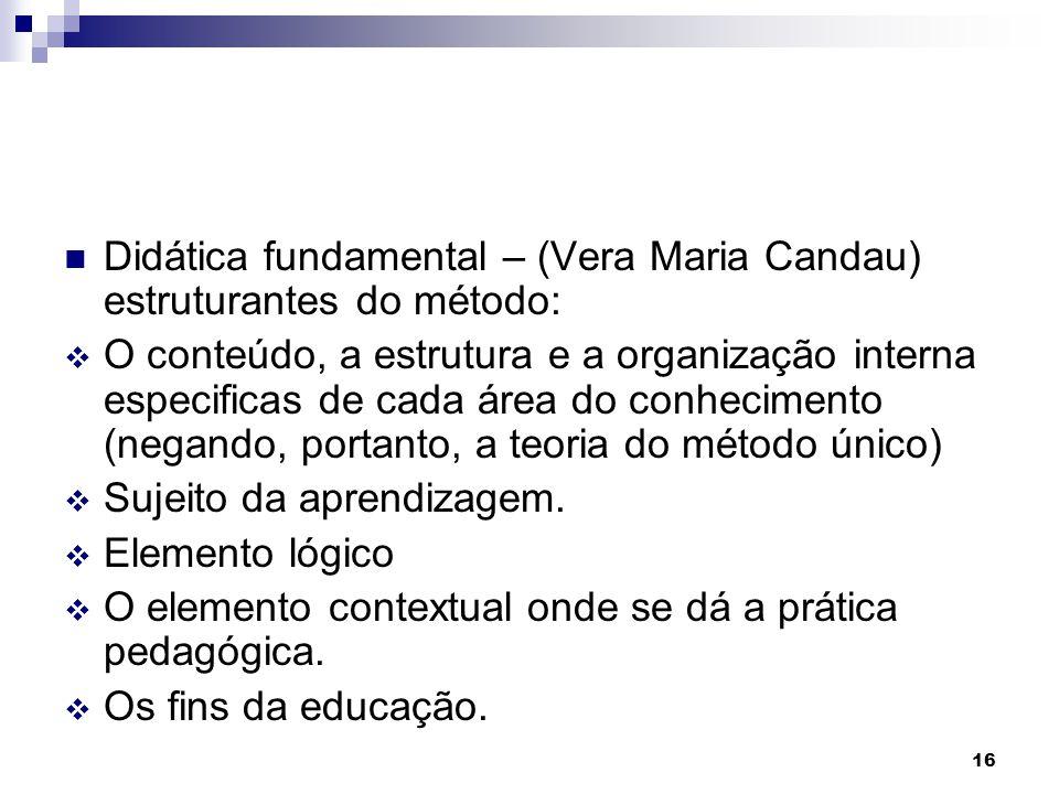 Didática fundamental – (Vera Maria Candau) estruturantes do método: