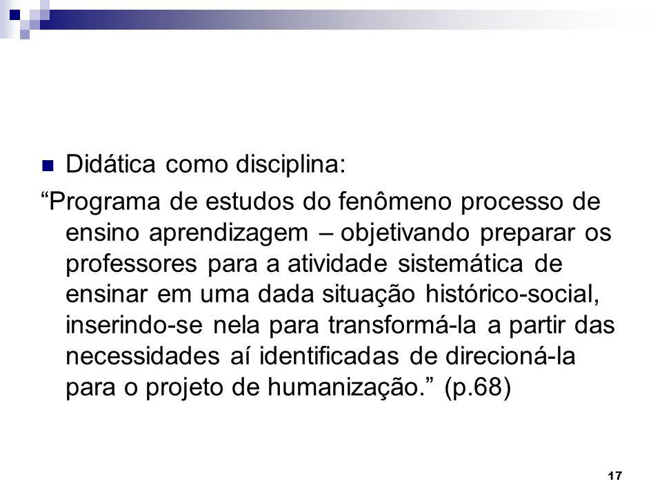 Didática como disciplina:
