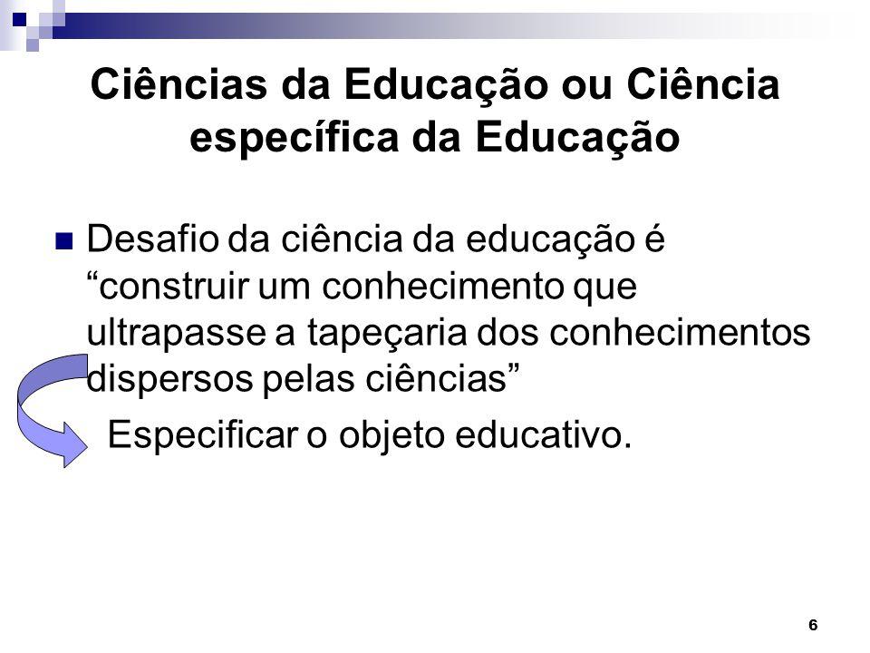 Ciências da Educação ou Ciência específica da Educação