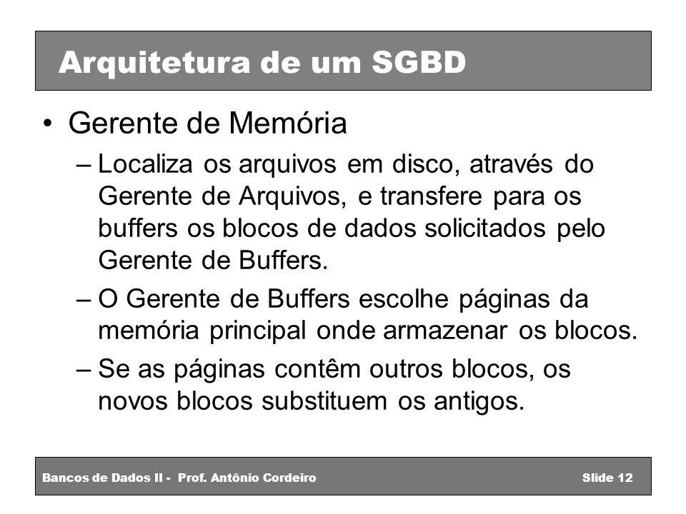 Arquitetura de um SGBD Gerente de Memória