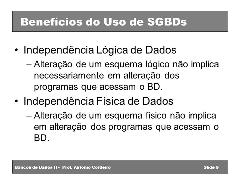 Benefícios do Uso de SGBDs