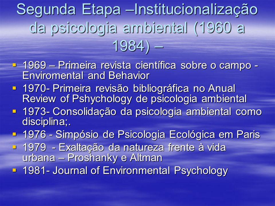 Segunda Etapa –Institucionalização da psicologia ambiental (1960 a 1984) –