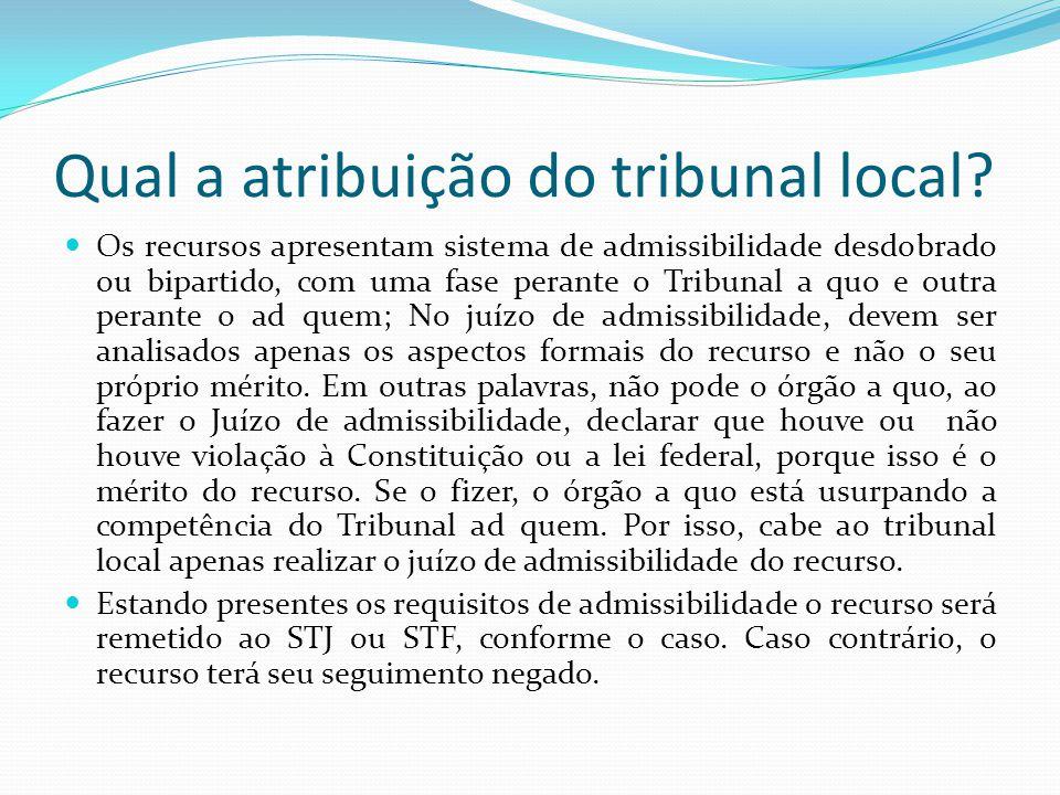Qual a atribuição do tribunal local