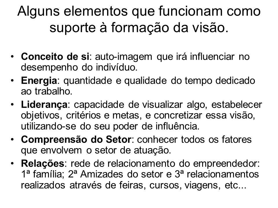 Alguns elementos que funcionam como suporte à formação da visão.