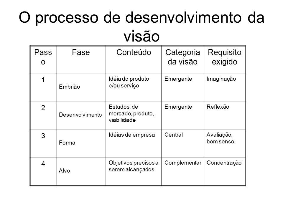 O processo de desenvolvimento da visão