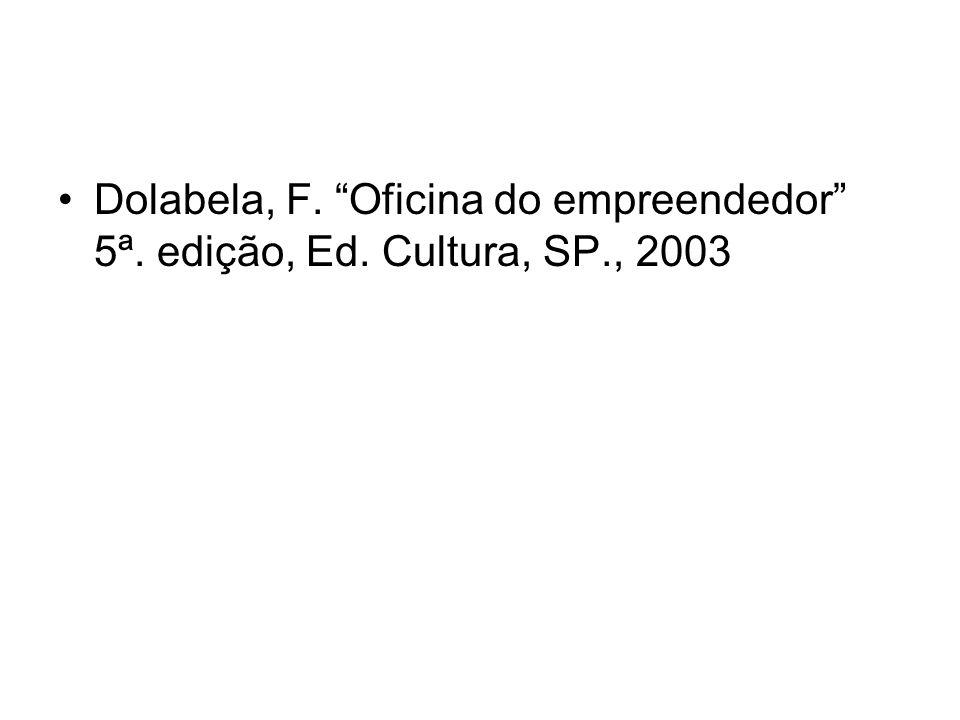 Dolabela, F. Oficina do empreendedor 5ª. edição, Ed. Cultura, SP