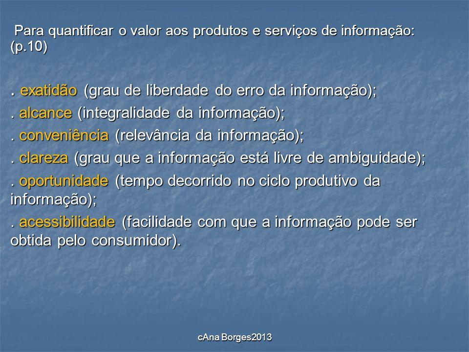 . exatidão (grau de liberdade do erro da informação);