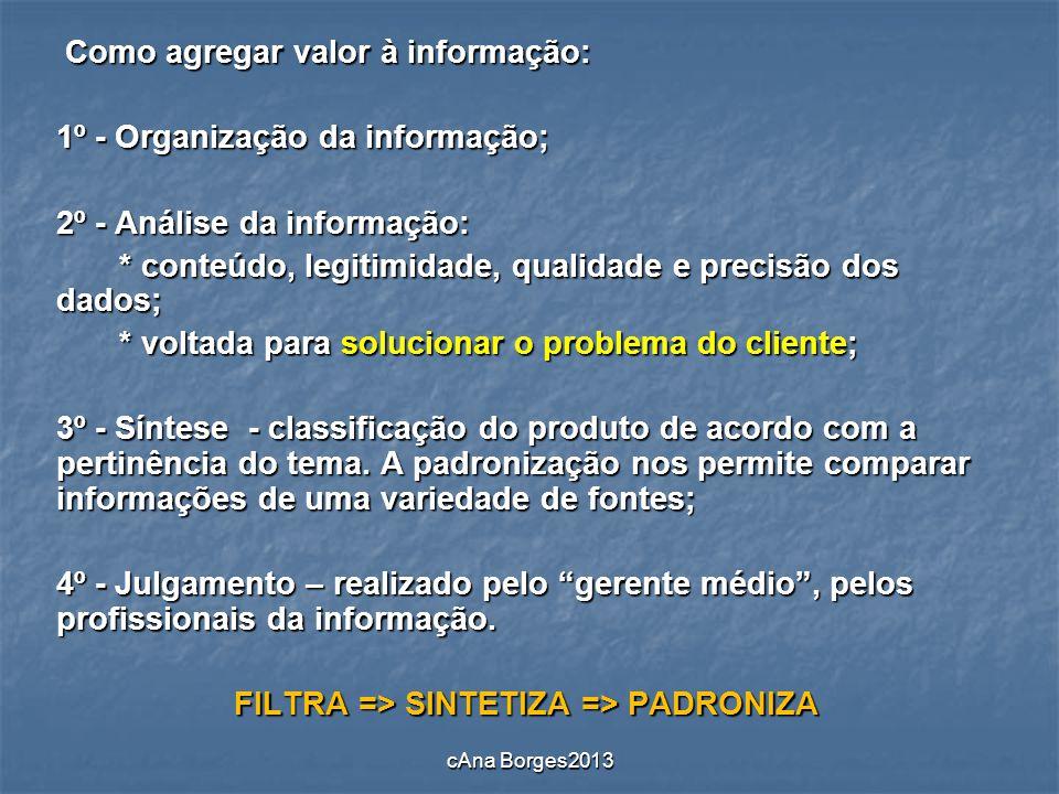 FILTRA => SINTETIZA => PADRONIZA