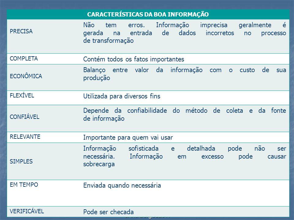 CARACTERÍSTICAS DA BOA INFORMAÇÃO