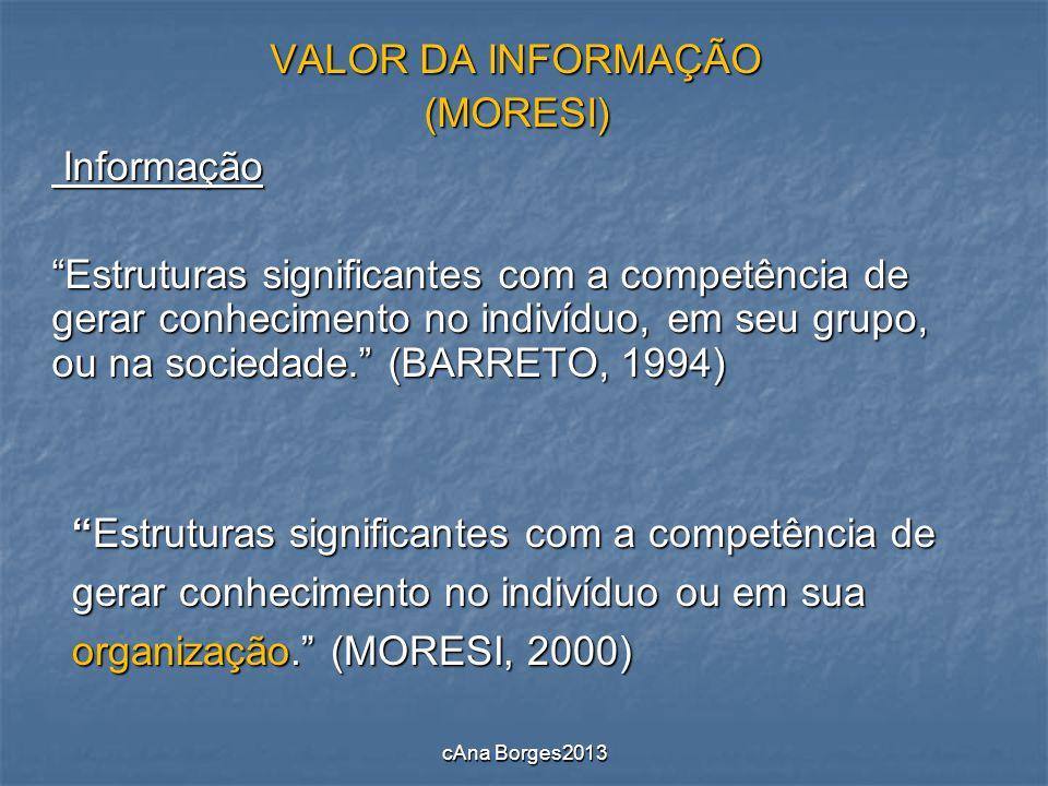 VALOR DA INFORMAÇÃO (MORESI) Informação