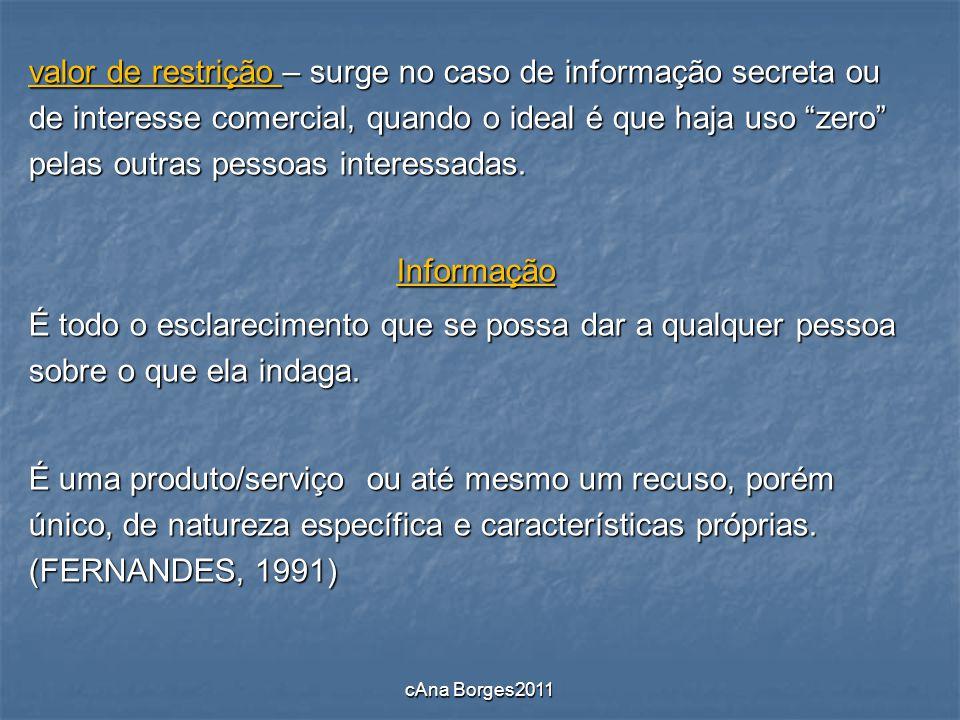 valor de restrição – surge no caso de informação secreta ou de interesse comercial, quando o ideal é que haja uso zero pelas outras pessoas interessadas.