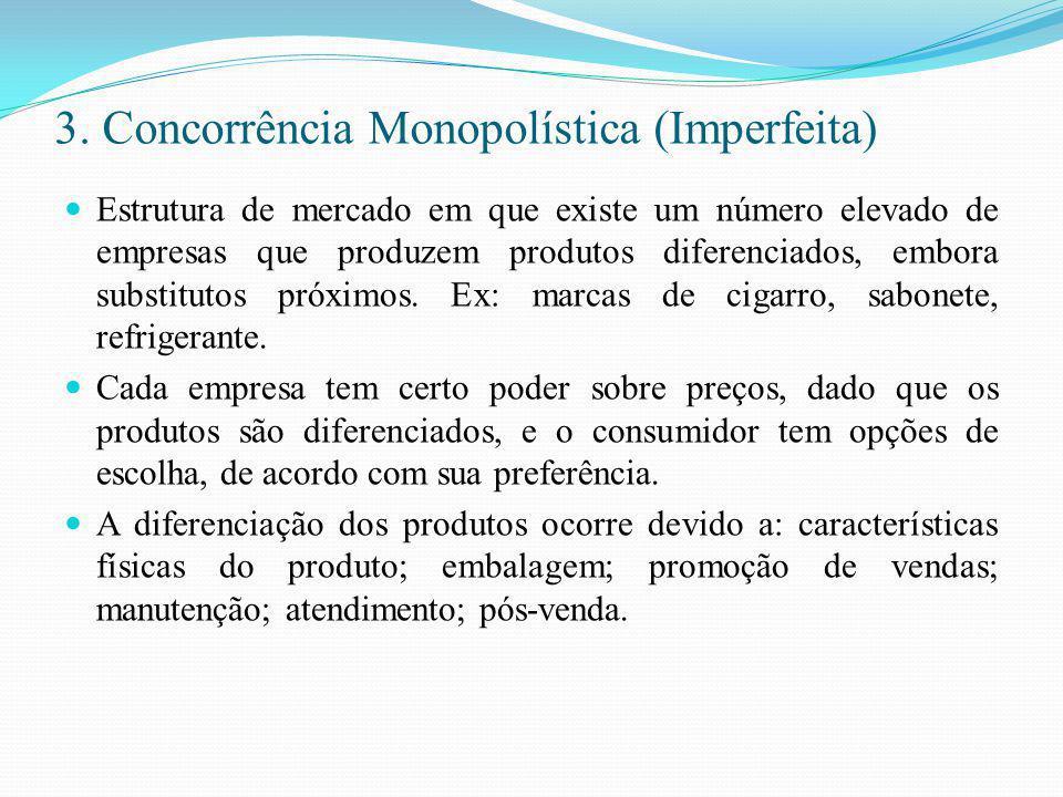 3. Concorrência Monopolística (Imperfeita)