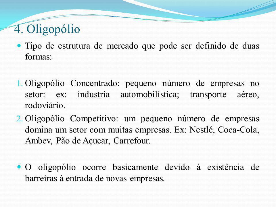 4. Oligopólio Tipo de estrutura de mercado que pode ser definido de duas formas: