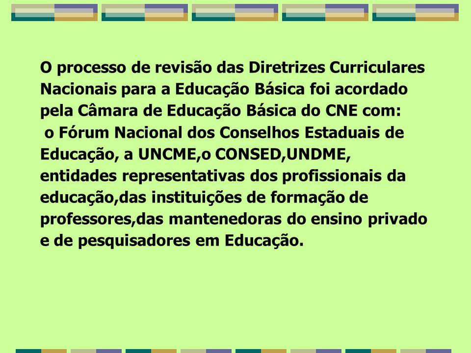 O processo de revisão das Diretrizes Curriculares Nacionais para a Educação Básica foi acordado pela Câmara de Educação Básica do CNE com: