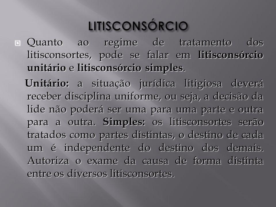 LITISCONSÓRCIO Quanto ao regime de tratamento dos litisconsortes, pode se falar em litisconsórcio unitário e litisconsórcio simples.