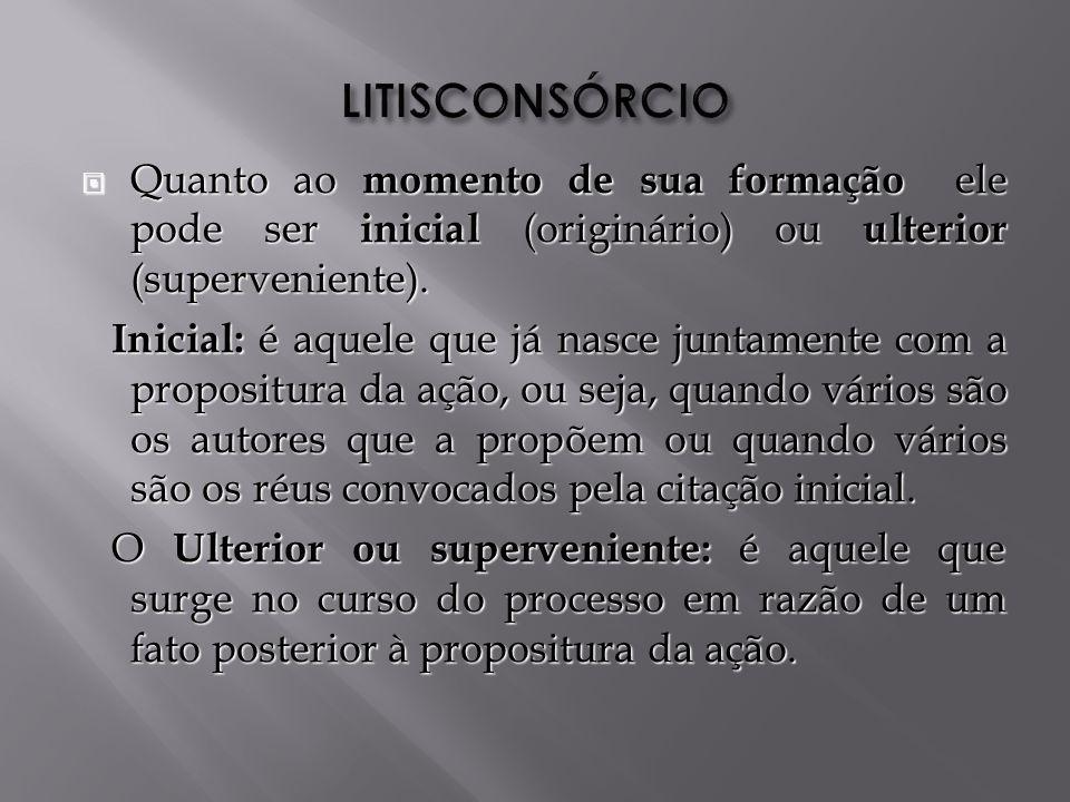 LITISCONSÓRCIO Quanto ao momento de sua formação ele pode ser inicial (originário) ou ulterior (superveniente).